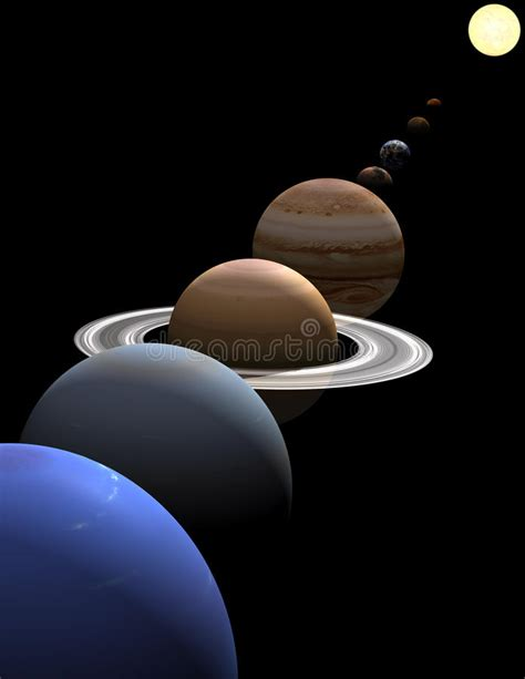 Solar System Planets In Alignment Around Sun Stock