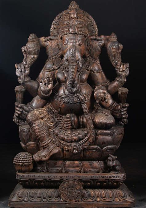 """SOLD Wood Seated Ganesh with 6 Arms 57"""" (#65w62): Hindu"""