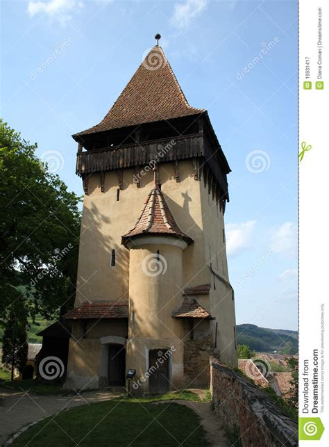 Medieval defence tower stock image