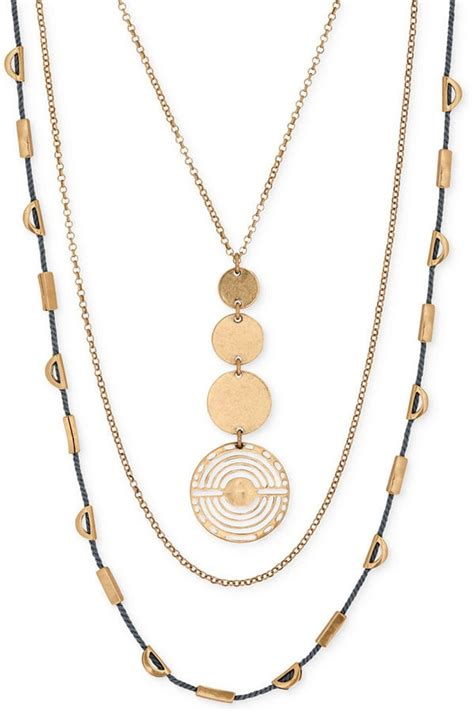 Lucky Brand Gold-Tone Geo Circle Layer Necklace ($49